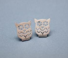 unique Owl earrings in silver