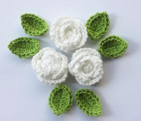 white crochet roses