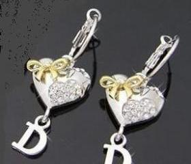 Smooth Peach heart Gold Bow D word D Letter Hoop earrings with Swarovski Crystals