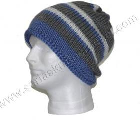 Mens Gray Beanie - Blue Beanie Reversible Beanie for Men - Stripe Beanie White Beanie for Men- Chunky Beanie