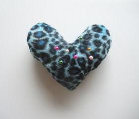Blue Leopard Print Heart Shaped Pin Cushion, ready to ship.