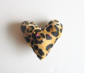Heart Shaped Pin Cushion in Leopard Print, ready to ship.