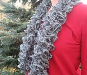 Classy Gray Ruffle Sashay Scarf