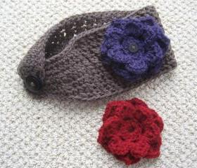 Ear Warmer with Two Interchangeable Flowers. Crochet Warm Headband with Button-on Flowers.