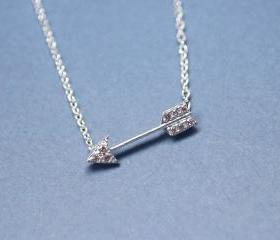 Arrow with cubic zirconia detail pendant necklace in silver