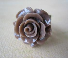 Mocha Brown Rose on Antique Brass Filigree Ring - Adjustable - Jewelry by FIVE
