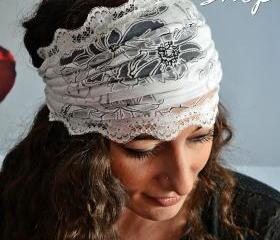 White Gorgeous Headband Lace Turban With Transparent Flowers