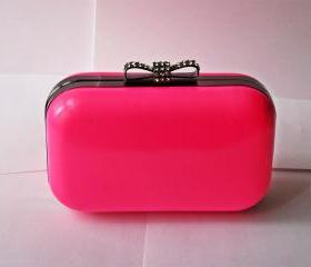 Pink Candy Box Clutch Bag With Bow Clasp