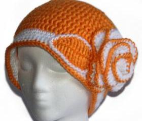 Womens Orange Spring Beanie Rose Beanie for Teen Girls and Women