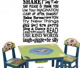Large Playroom Rules Vinyl Decal