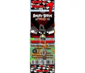 Angry Birds Heikki Ticket Style Personalized Party Invitations