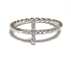 Sideways Cross Ring-Rhodium Over 925 Sterling Silver With Hand Set CZ Ring With Rope Band-Size 6
