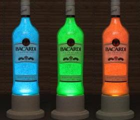 Bacardi Rum Color Changing Bottle Lamp/Bar Light/ LED Remote Controlled Eco Friendly LED -Bodacious Bottles-arkle-Bodacious Bottles-