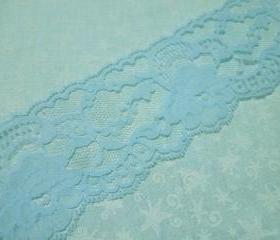 1 yard of 2 3/4 inch light blue chantilly lace trim for bridal, wedding, baby, hair accessories, lingerie by MarlenesAttic - Item O2