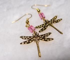Dragonfly Earrings in Gold