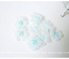 10 Light blue Satin organza flower / pack