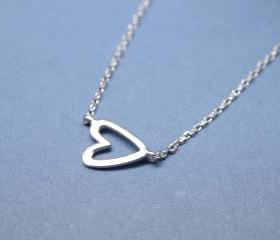 Sideways Open Heart Necklace in silver