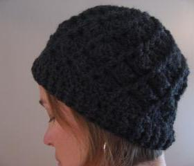 Adult Crocheted Beanie Style Hat. Spiral Divine Design. Women's Size in Taupe Brown or Charcoal Gray.