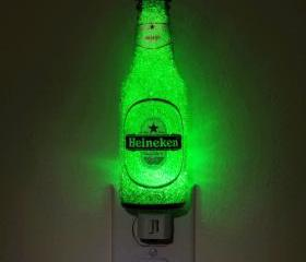 7oz Heineken Night Light / Accent Lamp- VIDEO DEMO- Eco LED...&quot;Diamond Like&quot; Glass Crystal Coating on interior