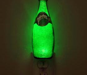 11oz Perrier Jumbo Night Light /Accent Lamp- VIDEO DEMO-11 yr. Eco LED 'Diamond Like' Glass Crystal Coating on interior