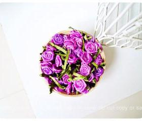 30 Rolled mini ribbon flowers / pack