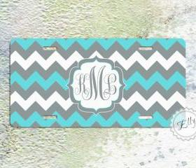 License plate tiffany blue and gray monogrammed chevron aluminium personalized car tag