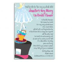 Mad Hatter Bridal Shower Custom Themed Invitation 