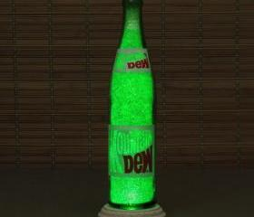 Vintage Mountain Dew 1970's Soda Bottle Lamp/Bar Light / VIDEO DEMO-Intense Sparkle and Glow Glass Crystals on Inside Surface inside