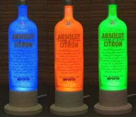 Absolut Citron Vodka Color Changing LED Remote Controlled Eco Friendly rgb LED Bottle Lamp/Bar Light / Intense Sparkle-Bodacious Bottles-