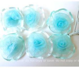 6 Organza rolled silver blue flowers / pack 