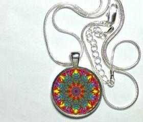 MANDALA Pendant Mandala Jewelry Buddhist Yoga Zen Necklace Purple, pink, blue. 1' Pendant, Glass, sterling silver, high quality Chain.