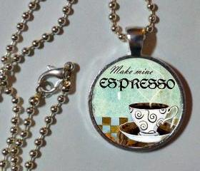 Make Mine espresso. 1' sterling silver & glass photo pendant with ball chain. Coffee necklace. coffee cup. Coffee Lover art pendant charm