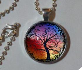 Tree Of Life Necklace. Rainbow. TREE OF LIFE Pendant . 1' Sterling silver, glass & high quality chain necklace. Glass pendant necklace.