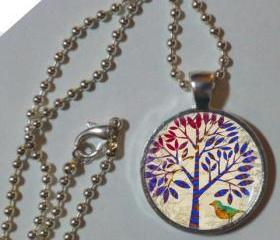 Bird and Tree 1'glass & metal pendant with chain necklace Bohemian necklace pendant, tree jewelry, tree jewellery, Tree art pendant charm
