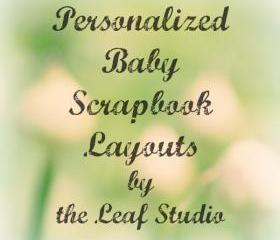 Custom 12x12 Baby Scrapbook Layout (2 pages) by The Leaf Studio. FREE shipping.
