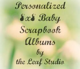 Custom 8x8 Baby Scrapbook Album (20 pages) by The Leaf Studio. FREE shipping.
