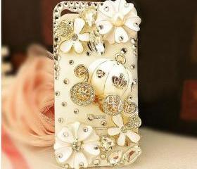 3D Luxury iphone 5 100% Handmade Cinderella's Pumpkin Cart Wagon White Hard Case