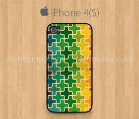 iPhone 4 Case, iPhone 4S Case Black, Leopard Print Colorful Pattern