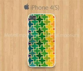 iPhone 4 Case, iPhone 4S Case White, Leopard Print Colorful Pattern
