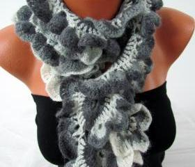 Knitted scarf crochet, colorful greyscale
