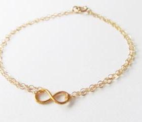 Mini Infinity Bracelet, 14kt Gold Filled Bracelet, Gift for Her