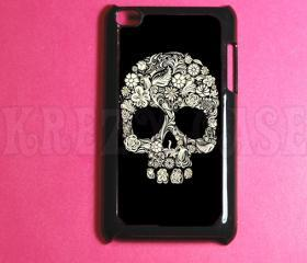 iPod Touch 4 Case ,Flower Skull Ipod 4G Touch Case, 4th Gen Ipod Touch Cases