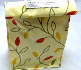 oilcloth Lunch Bag - Leaves on Vine