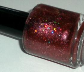 Nail Polish - STRAWBERRY DAIQUIRI - Hand Blended Glitter Nail Polish - Nail Lacquer - 0.5 oz Full Sized Bottle