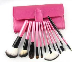 Fashion 11pcs Professional Portable Makeup Brushes Make Up Brushes Cosmetic Brushes Color Shine Makeup Brushes - Hot Pink