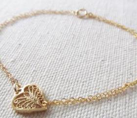 Heart Bracelet, 14kt Gold Filled Bracelet, Gift for Her