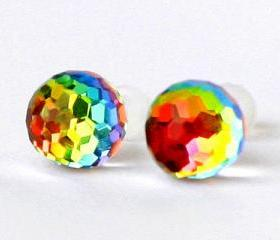 Swarovski earrings rainbow balls vitrail changing colors post studs glass