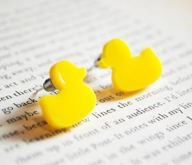 Rubber Duck Earrings, Nickel Free Studs