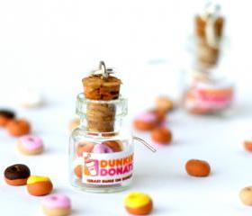 Dunkin Donuts kawaii earrings jar polymer clay miniature bottle sweet desert hoop