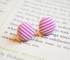 Candy Stripe Button Earrings, Pink, Nickel Free Studs